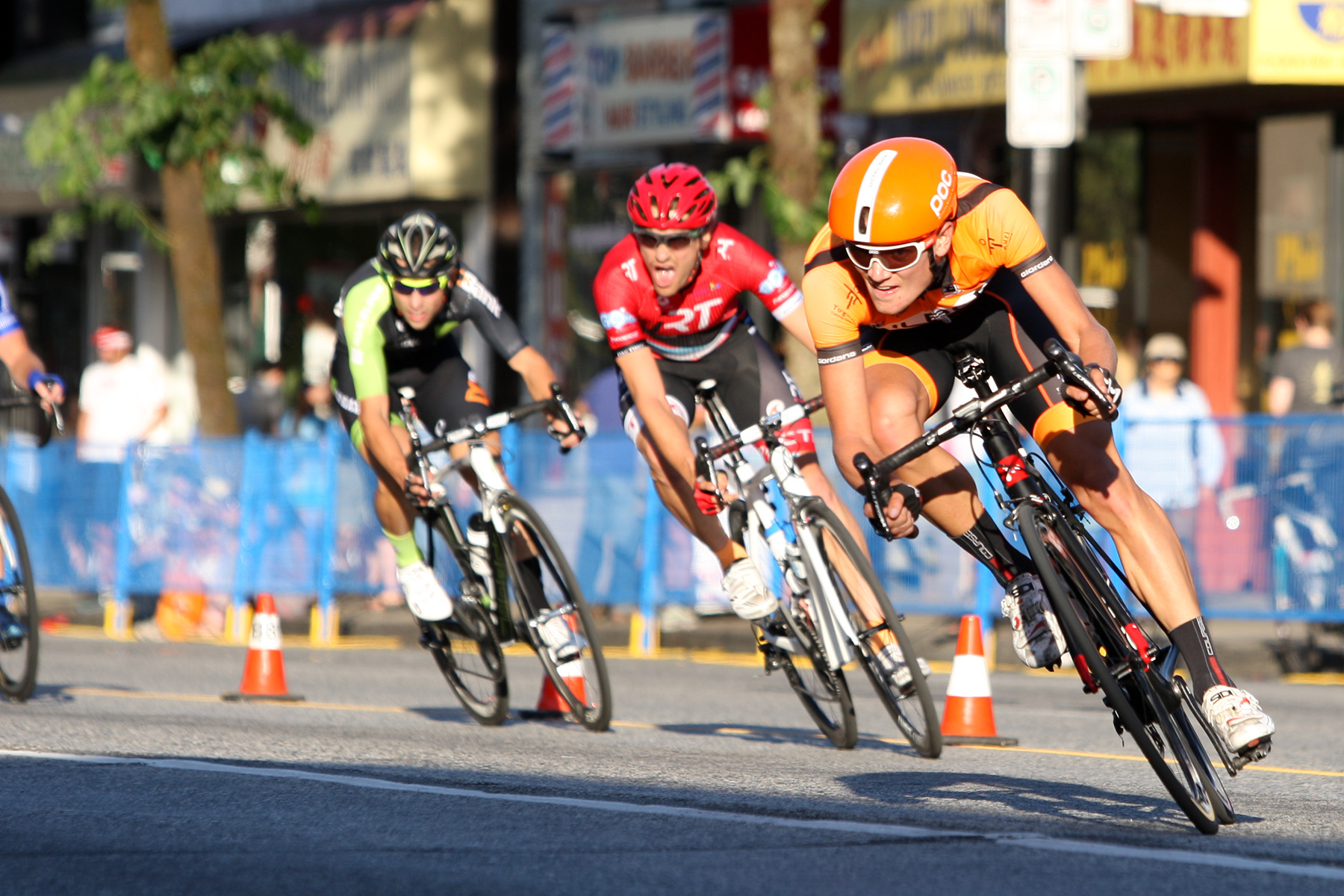 Bicyclists negotiate a fast turn during the Giro di Burnaby