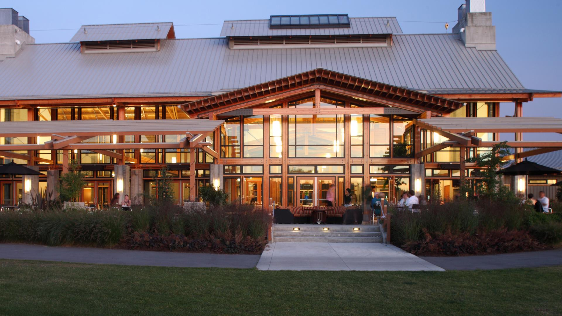 Riverway Clubhouse at night