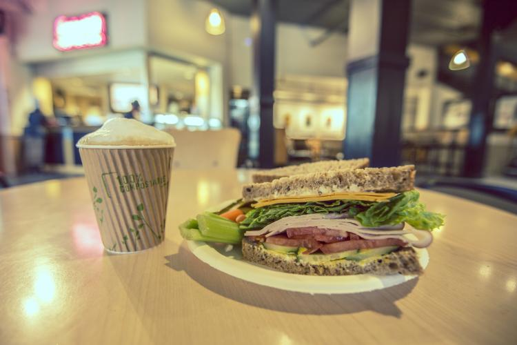 Image of a sandwich and coffee